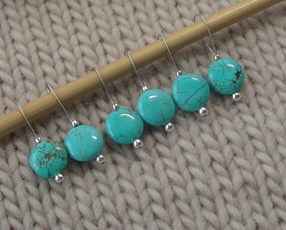 Knitting Markers Beads : Knitting stitch markers snag free turquoise semi precious