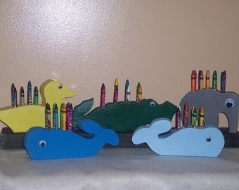 Wooden Animal Crayon Holder~Elephant Bear Duck Turtle Rabbit Whale Crayon Holder~Artist~Classroom~Photo Prop~Birthday Gift~Educational Toy