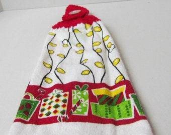 Crochet Top Christmas Towel~Kitchen Towel~Holiday Towel~Crochet Topper Towel~Holiday Decoration~Gift~Christmas Theme~Gift under 5