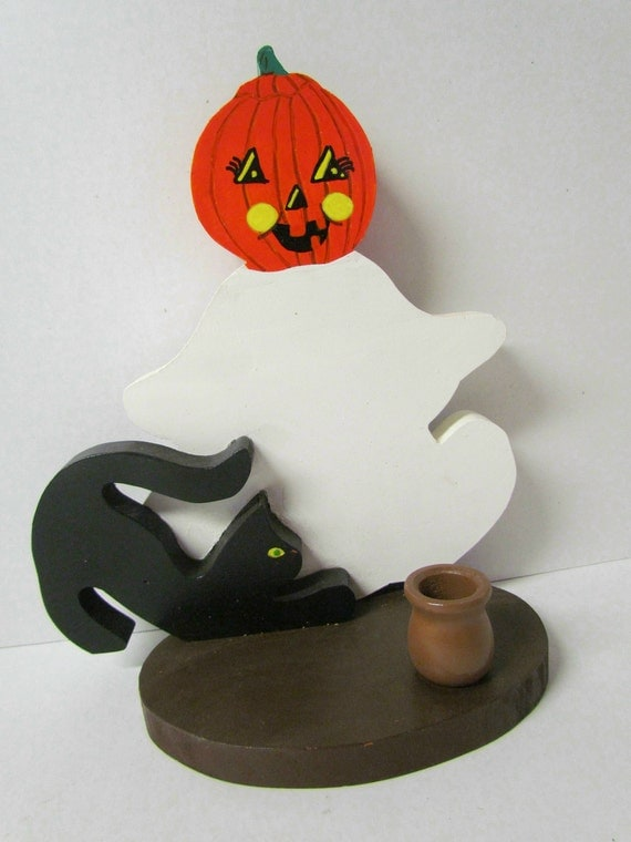 Wooden Halloween Pumpkin Ghost with Black Cat Candle Holder