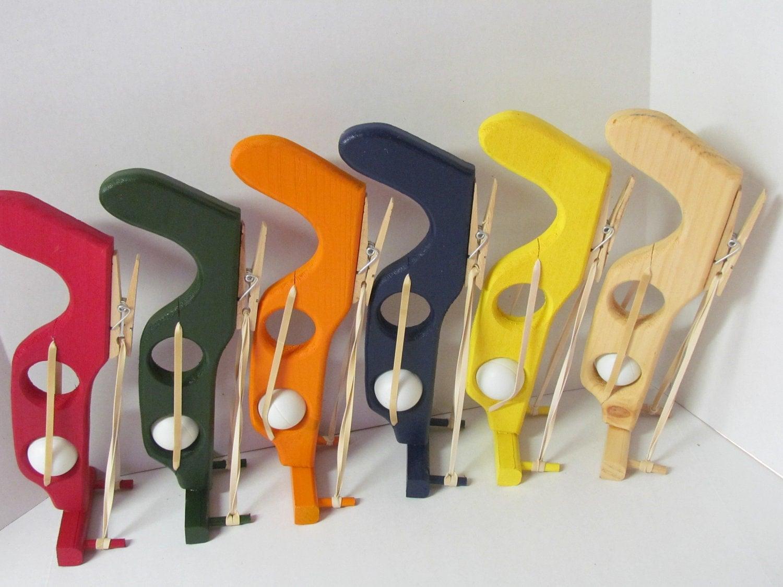 Wooden Ping Pong Gun Elastic