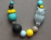 last one - moon unit necklace - vintage lucite, glass and gunmetal