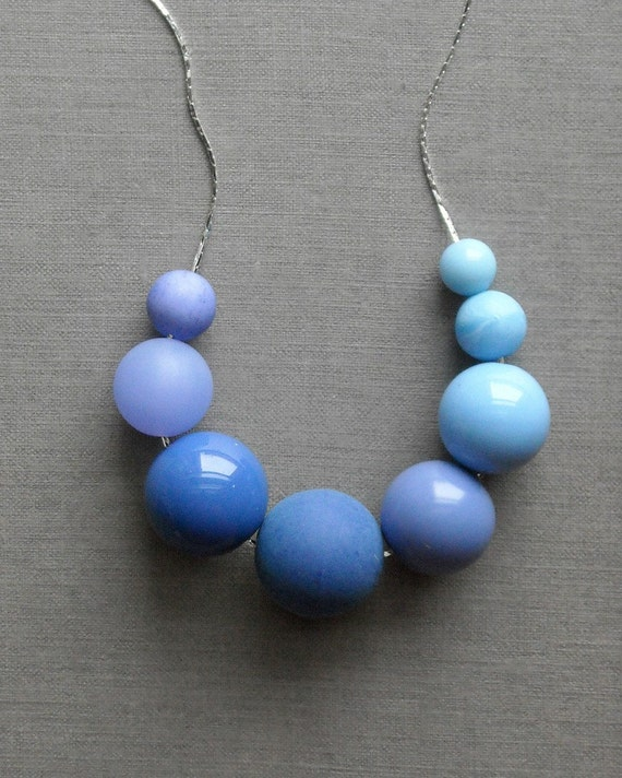 last one - ascending blues necklace - vintage lucite and silverplate