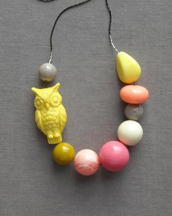 RESERVED for Liz - lemon moon necklace - vintage lucite