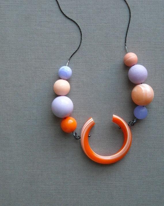 brighton rock necklace - vintage lucite and gunmetal