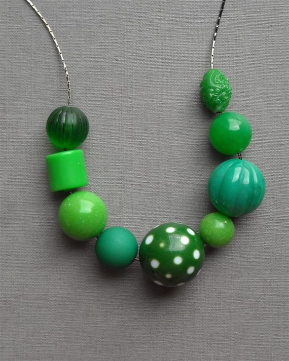 green mountain necklace - vintage lucite and gunmetal
