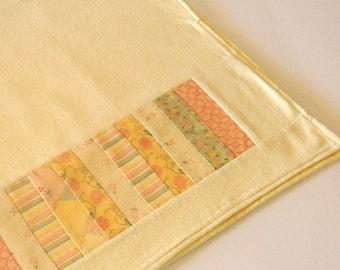Baby Receiving Blanket- Patchwork Handmade Yellow Flannel