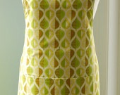 Pressed Leaf Reversible Apron - large apron with cool green cotton on back