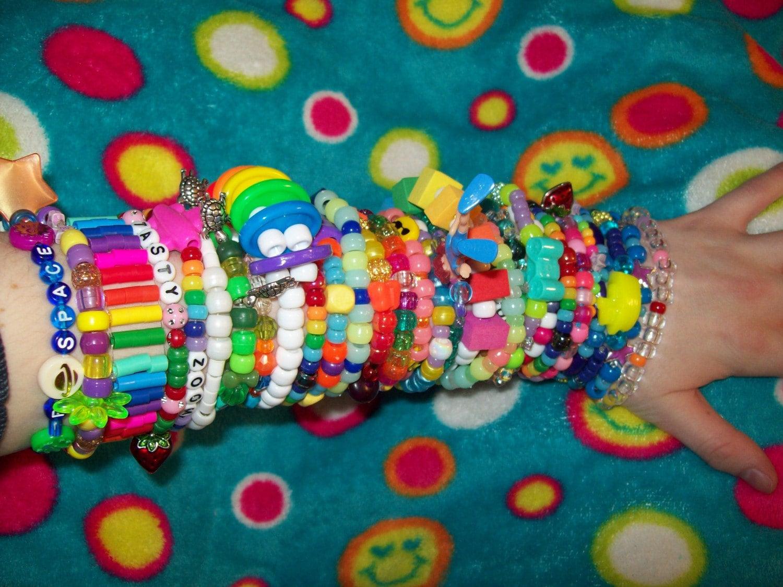 lot of 10 random single kandi bracelets