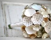 Paper flower bouquet, ivory, cream, white, light blue, wedding, floral arrangement