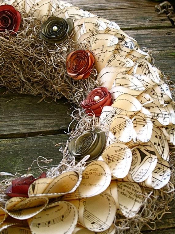 Sheet music wreath, fall colors, orange, green, burgundy, pearl