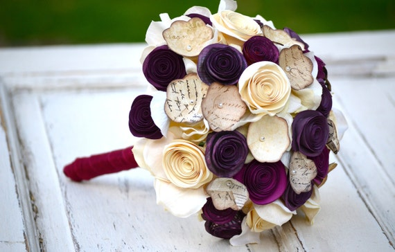 Paper flower bouquet, purple, plum, ivory, cream, wedding, home decor
