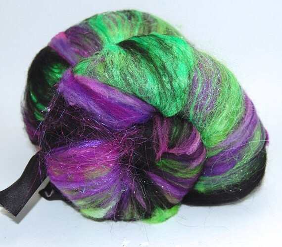 Monster Mash - 3.7 oz Green Purple Black Textured Drum Carded Wool Fiber Batt