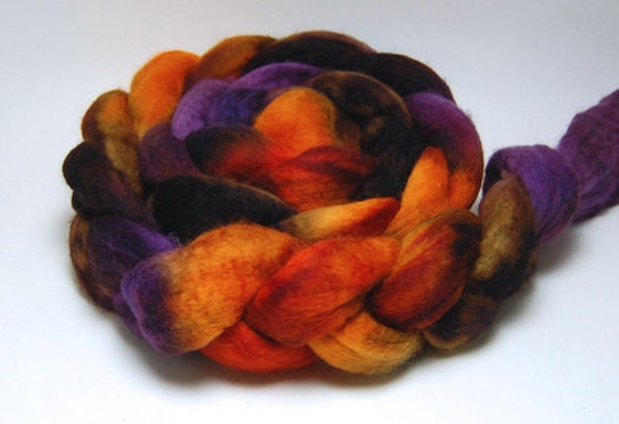 Falling for You - 4 oz Handpainted Brown Orange Purple Merino Wool Roving Top