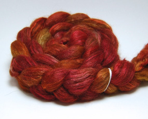 Warming Trend - 4 oz Red Orange Gold Brown Handpainted Alpaca Silk Roving Top