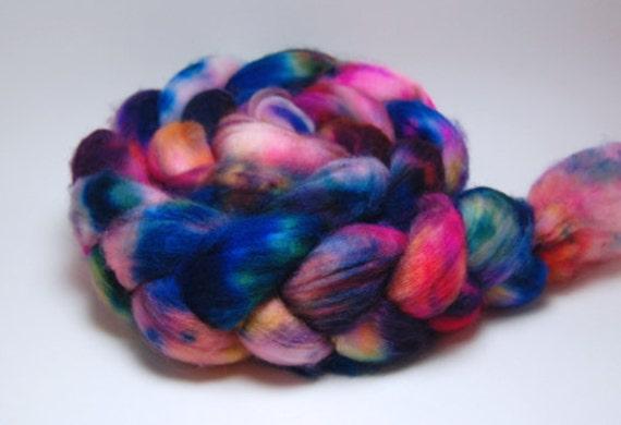 Street Spirit - 4 oz Blue Yellow Orange Pink Purple Handpainted Superwash Merino Wool Top Roving