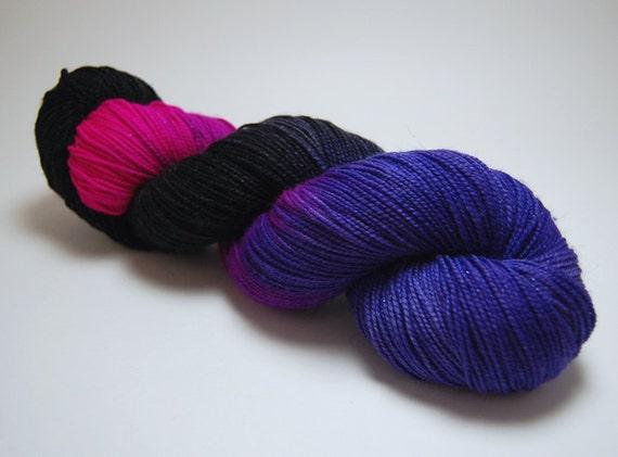 Grapes of Wrath -  Black Pink Superwash Merino Nylon Sparkle Shimmer Sock Yarn - 438 Yards