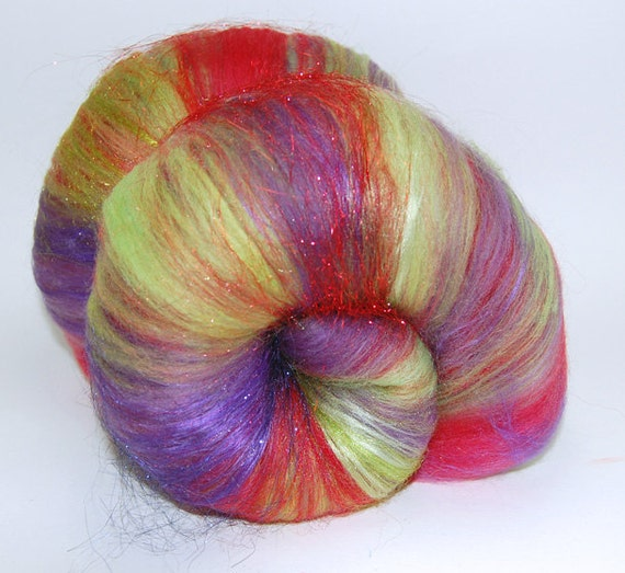 Crazy Train OOAK - 4.8 oz Purple Red Green Shimmer Sparkle Drum Carded Fiber Batts