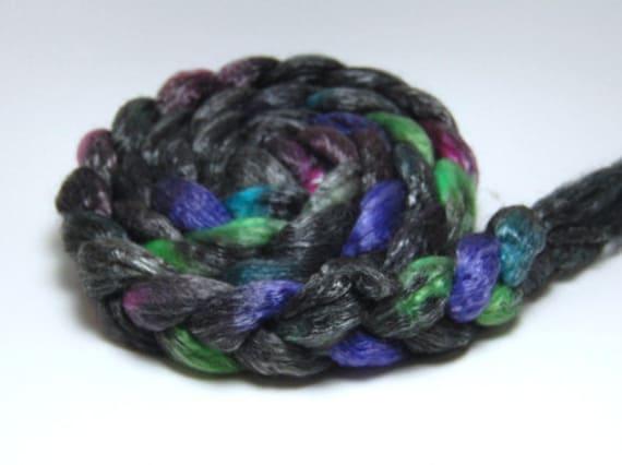 Ultralight at Night - 4 oz Black Pink Green Handpainted Merino Tencel Wool Top Roving