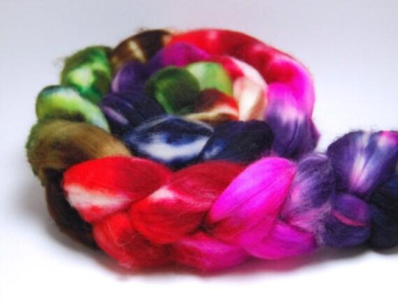 Hyperballad - 4 oz Red Green Pink Purple Blue Handpainted Superwash Merino Wool Top Roving