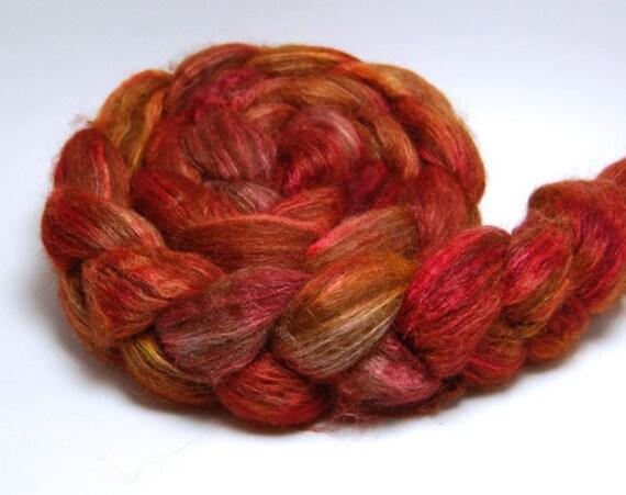 Warming Trend - 4 oz Red Orange Gold Brown Handpainted Alpaca Silk Roving Top