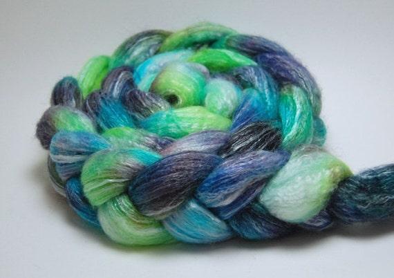 Happy Phantom - 4 oz Green Purple Turquoise Handpainted Merino Bamboo Wool Top Roving