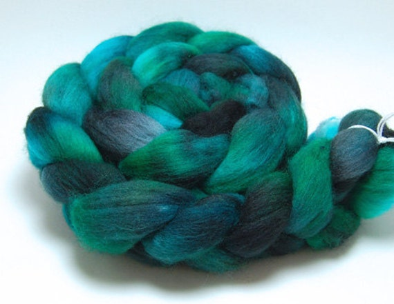 Sea Creature- 4 oz Black Turquoise Green Handpainted Falkland Wool Top Roving
