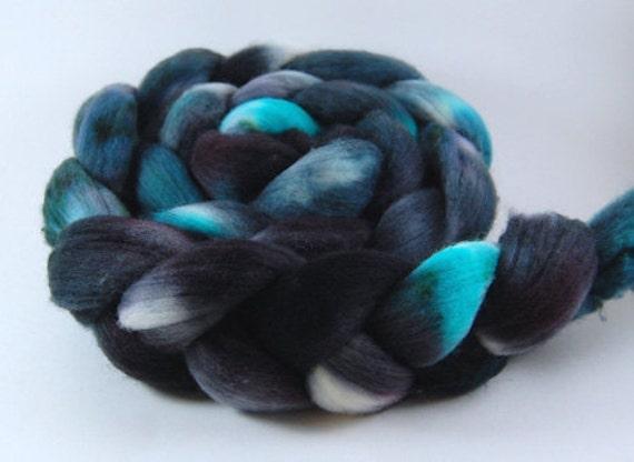 Frozen Lake - 4 oz Black Blue Grey Handpainted Merino Wool Roving Top
