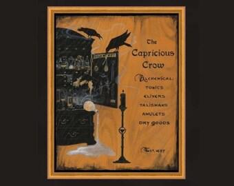 Alchemists Workshop Print with Black Crows