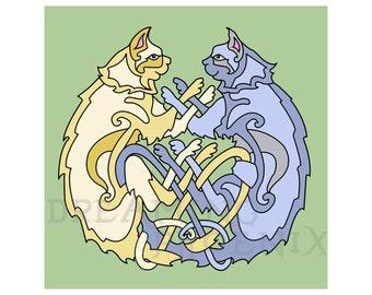 Celtic Love Cats Print