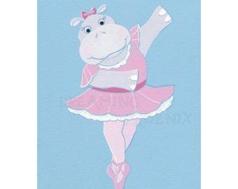 Ballerina Painting Animal Ballet Hippo Nursery