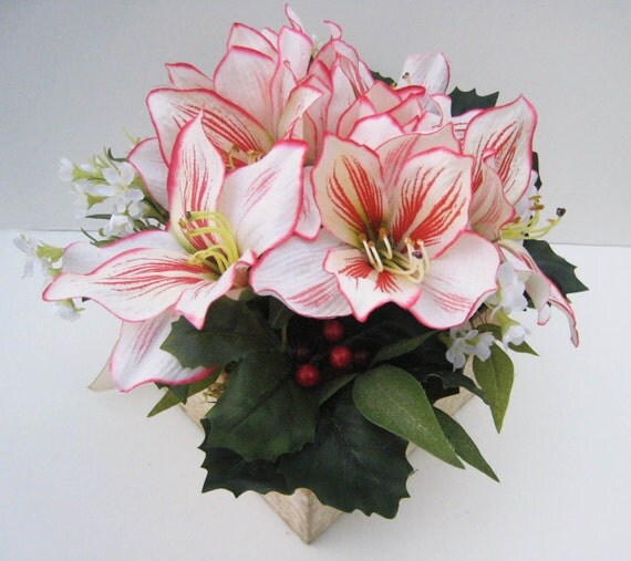 Christmas Silk Floral Arrangement Peppermint Amaryllis
