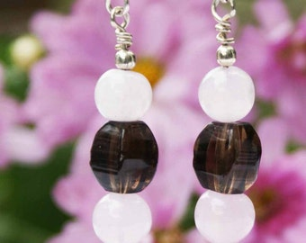 Sterling Silver Smoky and Rose Quartz Earrings