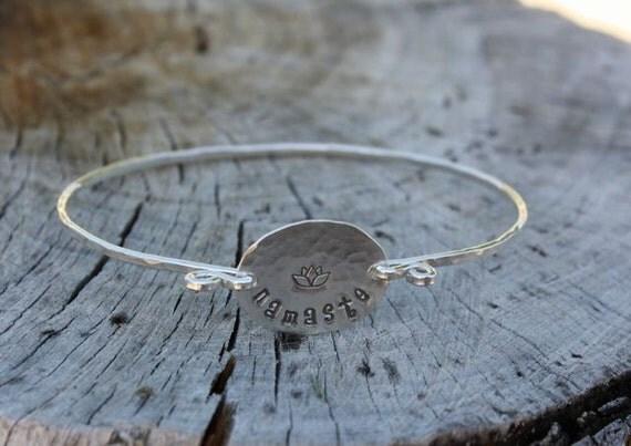 Namaste Bracelet - Sterling Silver Bangle Bracelet, Yoga Jewelry, Zen, Meditation Jewelry