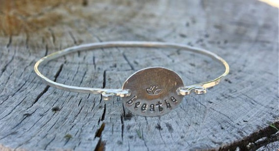 Breathe Bracelet - Sterling Silver Bangle Bracelet - Yoga Jewelry, Lotus Flower, Inspirational Jewelry, Motivational Jewelry Girlfriend Gift