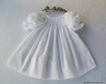 Smocked Baby dress, Smocked White Dress, Smocked White Christening Dress