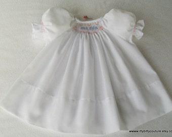 Smocked Baby Dress, Personalized Smocked Baby Dress