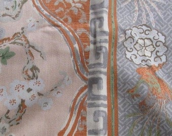 VINTAGE FABRIC SAMPLE LOT lot of five fabrics SHADES OF BROWN AND BLUE vintage floral burlap