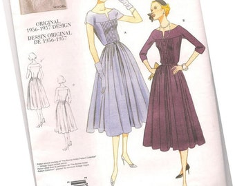 VOGUE SEWING PATTERN v1044, original 1956-1957 design, ladies casual dress, sizes 12, 14, and 16