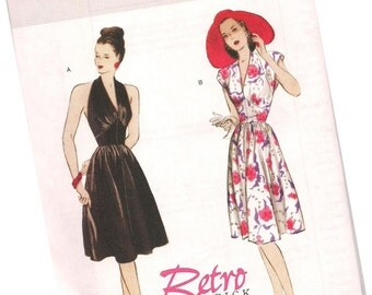 BUTTERICK PATTERN B5209, retro throwback of 1947 butterick, new and uncut, ladies' summer dresses, two styles, sizes 14, 16, 18, and 20