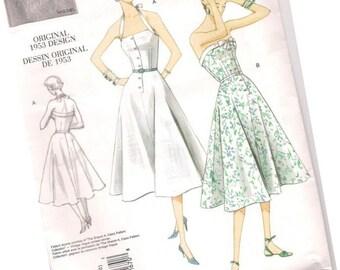 VOGUE SEWING PATTERN v2961, original 1953 design, sundress and halter dress, sizes 4, 6, 8, and 10