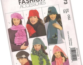 MCCALLS PATTERN M5773 ladies fleece hats and scarves and mittens, new and uncut