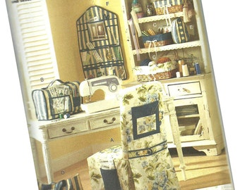BUTTERICK PATTERN B5160 sewing and craft room, sewing machine cover, chair cover, basket liner, sewing tote, and organizer
