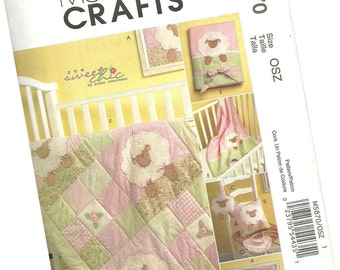 MCCALLS PATTERN M5870 baby lamb layette, baby quilt, pillow, blanket, photo album cover, nursery picture, entire nursery combo