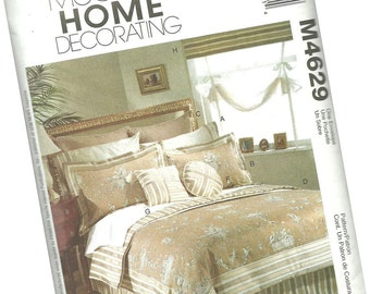 MCCALLS HOME decorating pattern M4629, pillow shams, pillow cases, duvet cover, bedskirt, window treatments, new and uncut