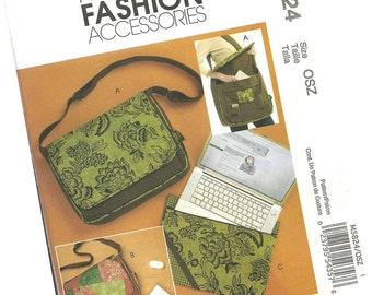 MCCALLS PATTERN M5824 laptop bag, three designs by jennifer lokey, one size fits most, new and uncut