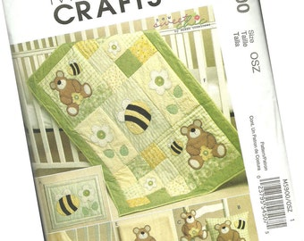 MCCALLS PATTERN M5900 nursery set pattern, bear and bee decor, baby quilt, pillow, wall hanging, new and uncut