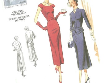 VOGUE SEWING PATTERN v1136, original 1945 design, ladie's classic dress and blazer, sizes 6, 8, 10, and 12, new and uncut