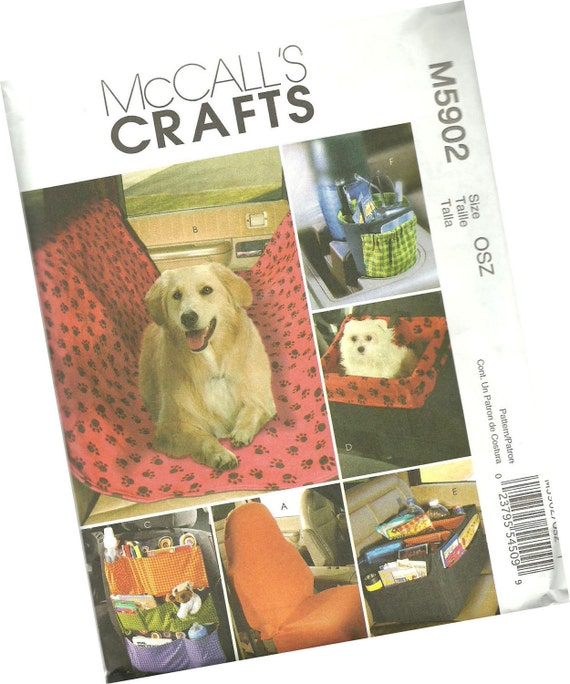 MCCALLS CRAFTS PATTERN m5902 pet organizer, car organizer for pets, pet seat, backseat cover, one size fits all, new and uncut