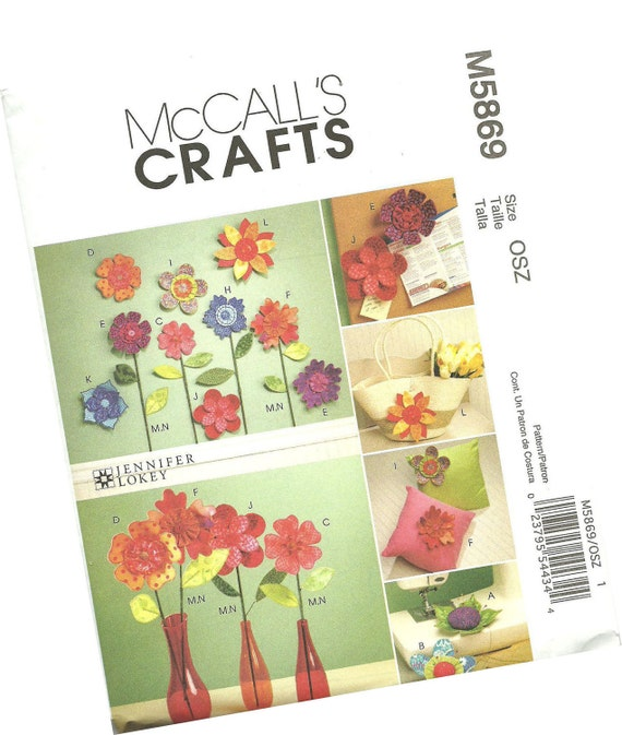 MCCALLS CRAFTS PATTERN m5869 faux flowers, wall designs, vased flowers